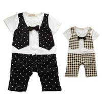 bebe designs - New summer cotton gentleman style plaid dotty design baby rompers toddler jumpsuit newborn bebe overall clothes boys romper