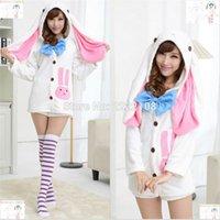 adult bunny pajamas - NEW Anime Vocaloids V Miku Hatsune Bunny Rabbit Ear Pajamas Anime Cosplay Costume Adult Onesie Sleepwear Dress