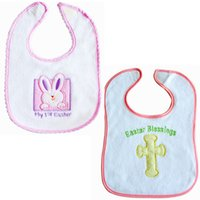 Wholesale Baby cotton terry cloth bibs Infants Easter embroidery bibs Easter Blessings My st Easter for boys girls