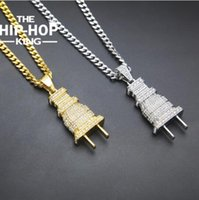 Mens Iced Out Plug Pendentif Collier Or Argent Couleur Charm Micro Pave Full Rhinestone Hip Hop Jewelry