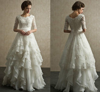 Wholesale 2017 Vintage Half Sleeves Wedding Dresses Scoop Neck Appliqued Beaded Tiered Organza Floor Length Muslim Beach Wedding Gowns Lace Up