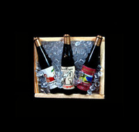 Wholesale Collectible Scale Dolls House Dollhouse Miniature iced Champagne Wine Beer Bottles on Crate wooden box Fridge Magnet