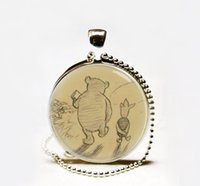 american classic books - Hot Sale Winnie the Pooh necklace Book art pendant Glass cabochon Necklace classic pooh jewelry
