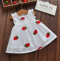Wholesale new sleeveless vest dance dress Children Cute Strawberry Embroidered Girl Pure Cotton Lace skirt summer L93