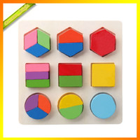 Wholesale NEW Wooden Geometric Shape Sorting Boards Toy Recognition Division Plate Multicolour Teaching Aids Puzzle