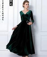 al por mayor túnicas de terciopelo-Women Wine Redding Se adapta a los vestidos con mangas largas Velvet Warm Dress XXL 3XL vestidos de mayor tamaño de longitud de tobillo de invierno Maxi túnicas Casual Túnicas
