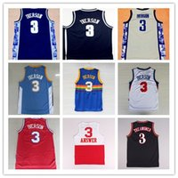 allen college - New Georgetown Hoyas Allen Iverson College Jerseys New Rev Material Allen Iverson Shirts Throwback Uniforms Stitched Embroidery Logos