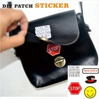 accessories sign decoration - PA24 Pc Pack Fashion Patch Sticker with Emoji Hat and Stop Sign Pattern for Apparel Knapsack decoration DIY Sticker Accessories