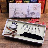 Acheter Mariage des stylos plume gros-Vente en gros FEATTY Quill Stylo -Retro Fancy Plume Quill Pen set Mariage Signature Pen 8 Pcs Accessoires One Set