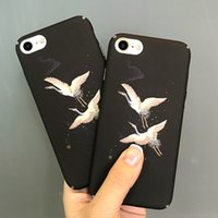 For Apple iPhone apple crane - Luxury Painting Cranes Flower Phone Case for Iphone S plus IPhone7 plus Cute Matte Hard Placstic Shell Back Cover Case