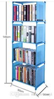 Wholesale Hot Selling Cheap Blue Pink Gray Simple shelf Creative bookshelf combination Simple furniture DIY Shelf Single row layer