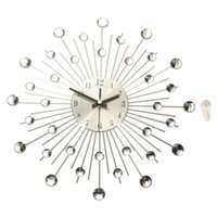 Wholesale Modern Art Large Wall Clock Metal Sunburst Home Decor DIY Clear Diamante Crystal cm x cm x cm
