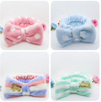 Wholesale hot sale pink flannel Stripe wave big bowknot snood mix colors girl hair band Hair Accessories