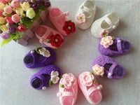 Girl crochet baby shoes wholesale - Fashion Buckle Baby Girls Shoes Handmade Knitting Newborn Crochet Sandals Baby Crochet Shoes
