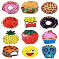 13 diseños Redonda Toalla de playa Pizza Hamburguesa Cráneo Helado Fresa Smiley Emoji Piña Sandía chips Ducha Toalla Manta Mantón