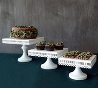 Wholesale white square wedding party cupcake and Openwork lace metal cake stand