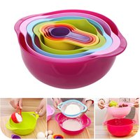 Wholesale Multicolor Creative Kitchenware Set Piece in One Set Kitchen Bowl Set Tool Househould Dinnerware Sets Rainbow Bowl Measuring Cup F259