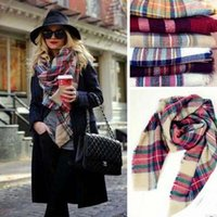 Wholesale 20 colors Women s Plaid Scarf Oversized Soft Winter Tartan Tassel Scarf Fashion Wrap Grid Shawl check Pashmina Lattice Neck Stole Blanket