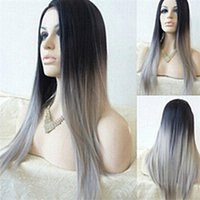 Wholesale long straight full lace wigs ombre color b gray silver Synthetic Ladys Hair Wigs fiber hair cap Christmas promotion