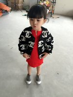 Wholesale New arrival winter spring autumn kids girl Thick jacket warm coat black color children fashion outwear Girls Plush coat T T