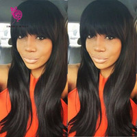 bangs hairstyle - 100 Virgin Brazilian Full Lace Human Hair Wigs With Bangs Glueless Lace Front Wig Density Full Lace Wig For Black Woman