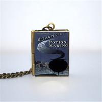 advance gift - 12pcs Advanced Potion Making Book Locket Necklace Bronze tone