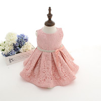 Wholesale Newest Pink Infant Toddler Baby Girl Birthday Party Wedding Baptism Christening Easter Gown Toddler Princess Lace Floral Dress for Years