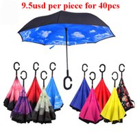 automatic folding - Inverted Umbrella Double Layer Inverted Umbrella Reverse Rainy Sunny Umbrella with C J HandleSelf Standing Inside Out Special Design