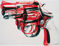 andy warhol decor - Gun black and red on white by Andy Warhol Pure Hand Painted Abstract Art oil painting High Quality Canvas Wall Decor custom size