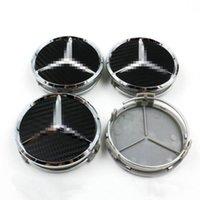 Wholesale 4 mm INCH CARBON BLACK WHEEL BADGE CENTER HUB CAPS FOR MERCEDES BENZ