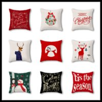 Wholesale Christmas Xmas Series Pattern Pillow Case Cushion Cover Pillowcase Linen Fabric Material Multiple Color Size x17 CMx45CM