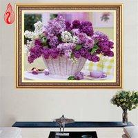 Wholesale YGS DIY D Full Diamond Mosaic Diamond Embroidery Purple flower baskets Square Diamond Painting Cross Stitch Kits Home Decor
