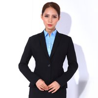Cheap 2017 New Fashion Women's Fashion Career Suit set One Button Slim Casual Business Blazer Suit Jacket with Pants or Skir Wholesale