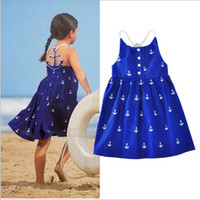 anchor blue clothes - Baby Girls Navy Anchor kids Halter dresses baby girl party dress Cotton Blue Summer Clothing
