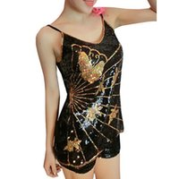 Wholesale Gold Sliver Full Sequined Camis Tank Tops New Arrivals Woman Summer Fashion Loose Tees Floral Femme Clubwear Night Clothing WT52009