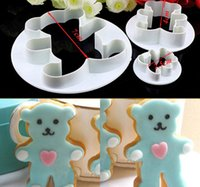 Wholesale 3Pcs Teddy Bear Cookie Fondant Cake Icing Cutter Mold Gumpaste Biscuit Decor Set family time mon girlfriend gift