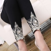 bead crown pattern - 2016 New Fashion Summer Korean Version Thin Crown Pattern Lace Handmade Beads Decoration Ladies Sexy Leggings Pencil Leggings