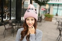 Wholesale New arrival hot sell Korean colorful fashion series cashmere color ball lace cloth warm wool hat female