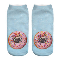 Wholesale Pair Blue D Donuts pug Printing Socks Cotton Polyester Casual Sock Unisex Low Ankle Sock cm cm Best Family Gift