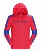 basic hoody - Fashion Balmain Men s Basic Hoodie Long Sleeve Pullover Hooded Sweatshirt Hoody Sweatshirt With Logo Print Red Black