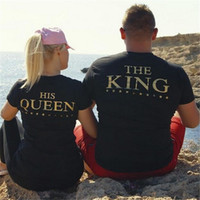 xxl black lover achat en gros de-2017 HOT Fashion King HIS Queen Crowns T-shirts Black Unisex Couple Lovers Short Sleeve Matching Couples His and Her T-Shirts - Tees