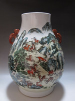 Carved antique tree light - China Famille Rose porcelain big Vase Painted Many deer pine tree Qianlong mark