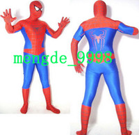 costume spandex bleu rouge achat en gros de-Red / Blue Lycra Spandex Spiderman Hero Catsuit Costumes Unisex Cosplay Spider Costume Fancy Spiderman Suit Outfit Halloween Cosplay Suit M148