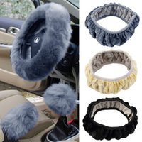 Wholesale 3 set Charm Warm Long Wool Plush car Steering Wheel Cover woolen Car Handbrake Accessory hot selling