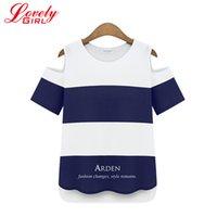 american apparel tshirt - Tshirt Femme Summer New Arrivals Striped T shirt Off Shoulder Plus Size XL XL Woman Tee Tops American Apparel Long Tees