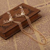Wholesale Han edition shirt collar Angle chain deer head needle buckle Deer head brooch collar button down personality
