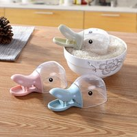 as pic Disposable CIQ,CE / EU Wholesale- Cute duck mouth modelling multi-functional plastic meters shovel sealing clamp clip scoop water spoon kitchen tool Free shipping