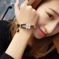 Wholesale 2017 New Arrival Stainless Steel Clover Bracelets For Women Fashion Jewelry Cheap High Quality Leather Link Bracelet Famous Brand Bangles