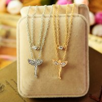 angels flying - new Style Women s Fashion Jewelry Gold Silver Plated Rhinestone Inlaid Flying Angel Clavicle Chain Necklace Female
