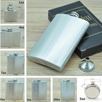 Wholesale 1oz oz stainless steel hip flask portable portable men hip flask Hip Flasks Drinkware Dining Bar Sand chrome